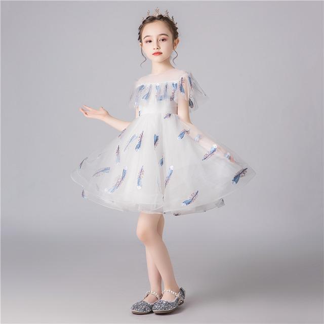 子どもドレス 子供ドレス キッズドレス 子供服装 演出装 舞台装 女の子 子供ワンピース 110 120 130 140 150 160 プレゼント 誕生日 花柄子供ワンピース ラウンドネック チュール ホワイト 白い 羽