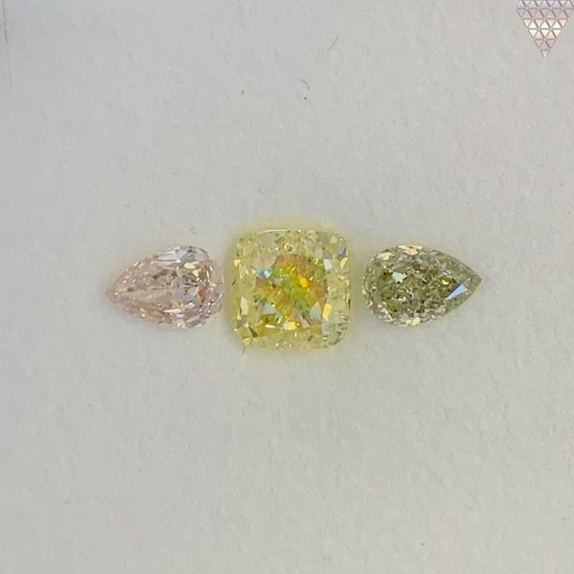 合計  0.99 ct 天然 カラー ダイヤモンド 3 ピース GIA  1 点 付 マルチスタイル / カラー FANCY DIAMOND 【DEF GIA MULTI】
