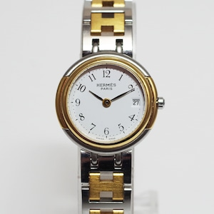 HERMES エルメス ウィンザー  ホワイト文字盤 SS コンビ 腕時計 レディース