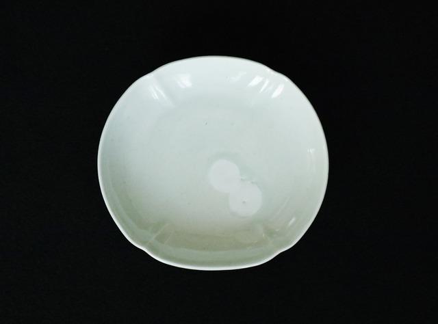 ■柳川謙治  :  青磁二重丸文木瓜小皿