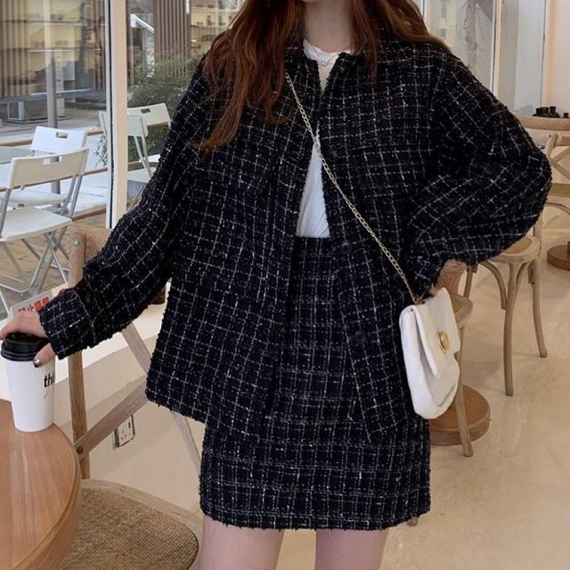 【セット】「単品注文」ファッション新作ルーズ長袖コート+シンプルカスリムスカート37757342