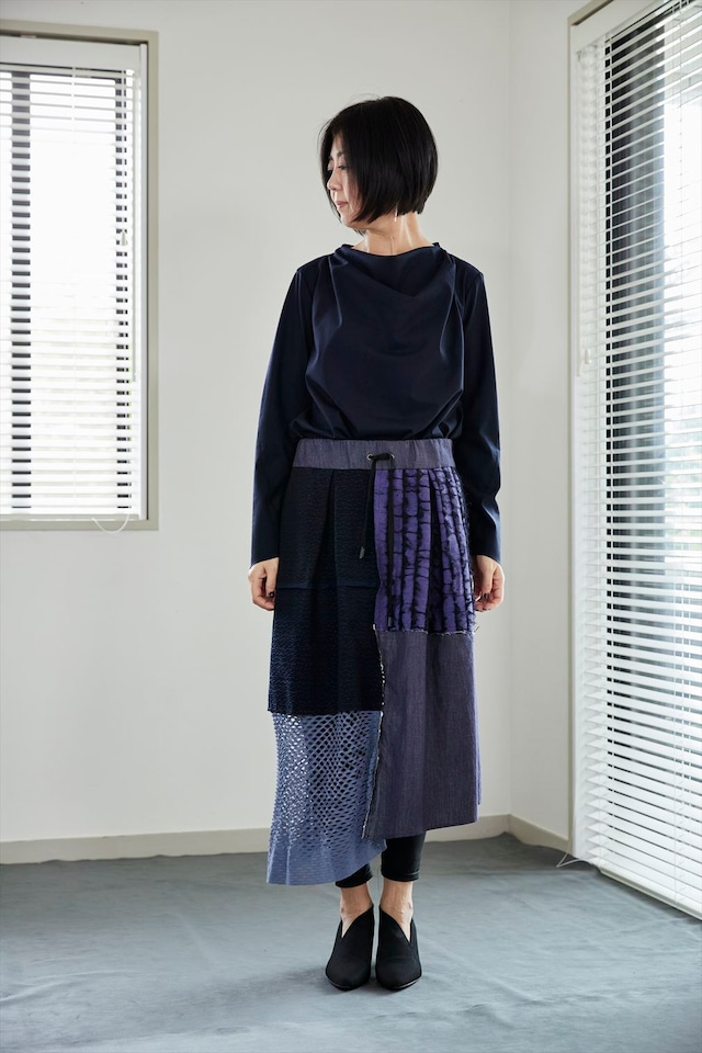 Patchwork skirt NAVY  着るアート 532-06-21[MADE IN JAPAN][税/送料込]