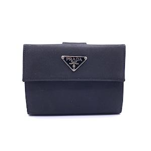 PRADA プラダ ロゴ 二つ折り M523A Wホック ナイロン財布 ブラック ウォレット vintage ヴィンテージ Accessories fmytff