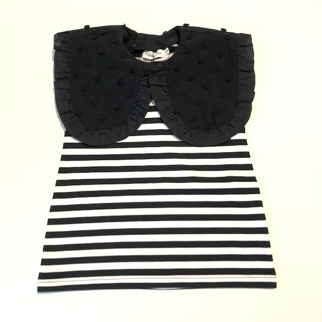 【21SS】フランキーグロウ ( frankygrow) REMOVABLE BONBON CUT JQ COLLAR NOSLEEVE TEE[ LL ]black*WHborder×blackBKBONBON Tシャツ トップス