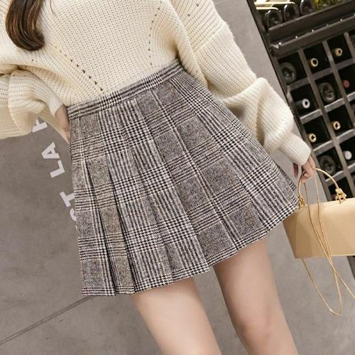 【★送料無料★】プリーツスカート チェック柄 韓国ファッション ミニスカート ブラック+ホワイト ハイウエスト かわいい レディース DCT-578871621357