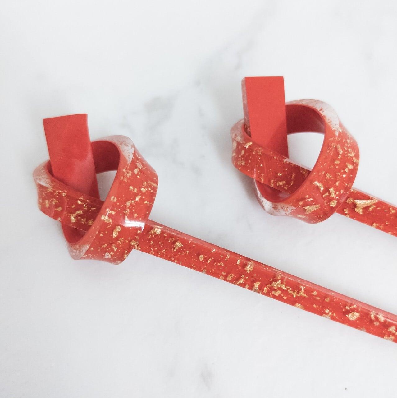 【デッドストック】のし結び型かんざし2本セット 赤×金 透明感