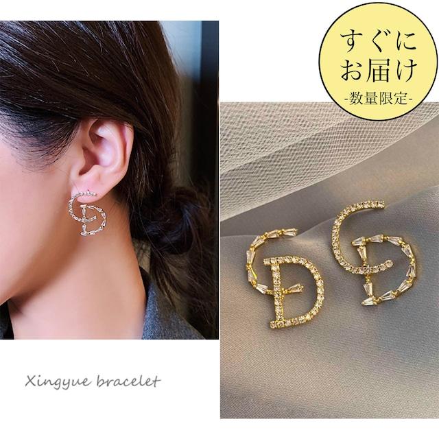<即納2点>【高品質シルバー925】ゴールドモチーフデザインビジューピアス