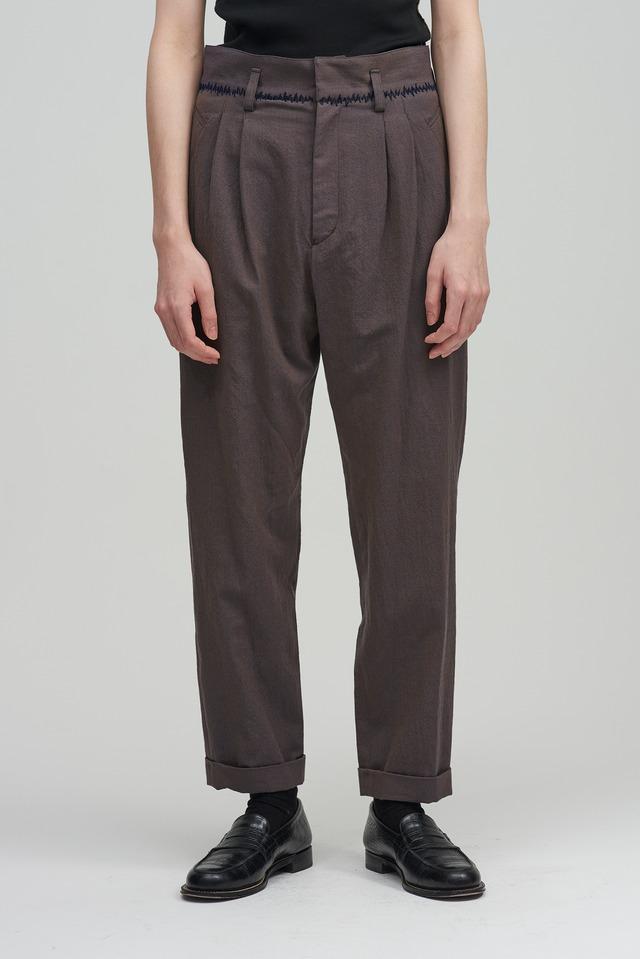 BED J.W. FORD /  Herringbone tapered trousers(GRY×BLUE)