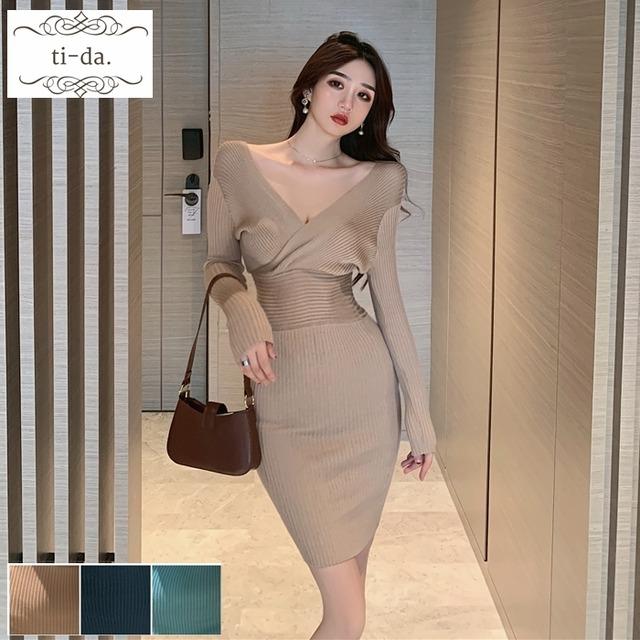 No.570 韓国ワンピース きれいめワンピース 大人可愛いワンピース タイトワンピース ニットワンピース 3color