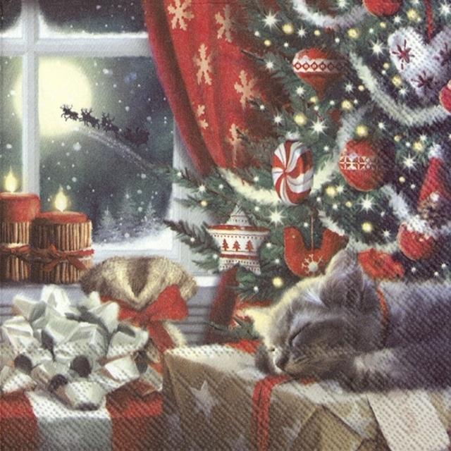 【IHR】バラ売り2枚 ランチサイズ ペーパーナプキン CAT IS WAITING FOR CHRISTMAS マルチカラー