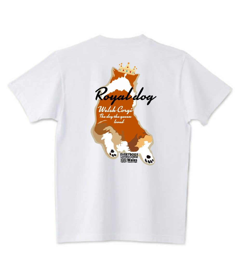 No.2020-royaldog-0001  : 5.6oz Tシャツ ロイヤルドッグシリーズ バックスタイル茶色