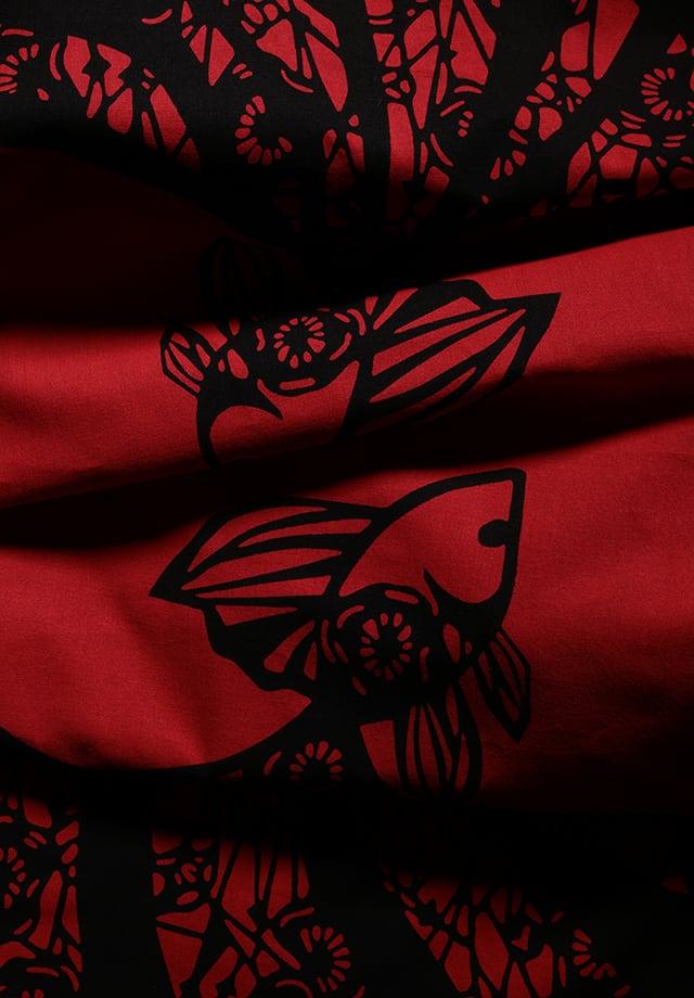 てぬぐい:つがい金魚変わり柄 (Red×Black)