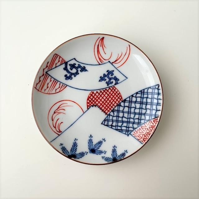 【おてしょ皿】染錦扇面丸紋富士山図 丸小皿