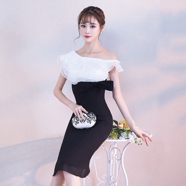 ワンピース 成人式 パーティードレス マーメイドスカート スウィート エレガント ワンショルダー ペプラム ホワイト+ブラック XS S M L LL 3L