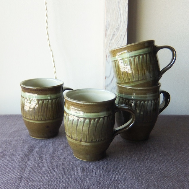 小鹿田焼 坂本工窯 -マグカップ (緑)