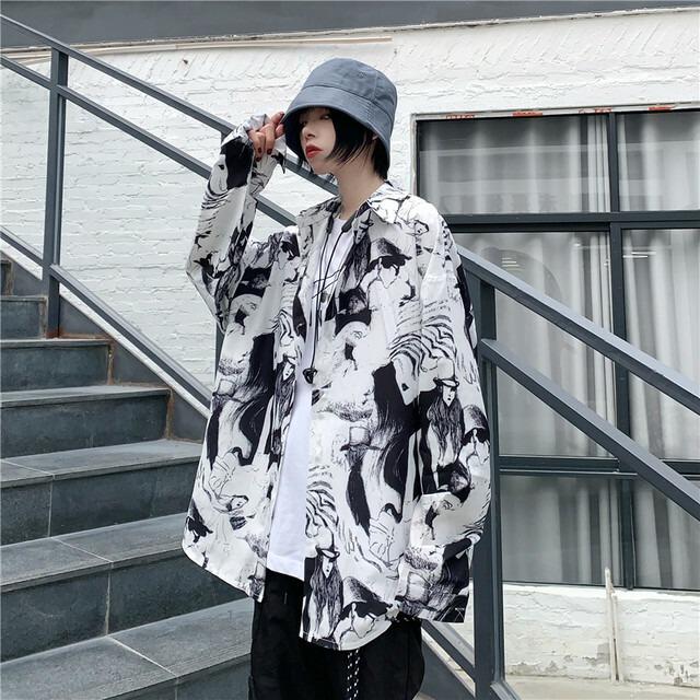 【トップス】ストリート系長袖POLOネックシングルブレスト落書きシャツ42918991
