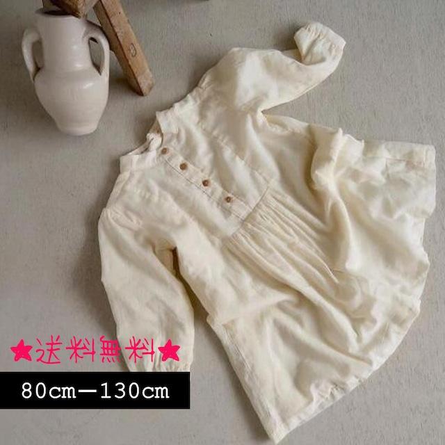 【80cm-130cm】秋新作☆綿麻カジュアルワンピース (364)