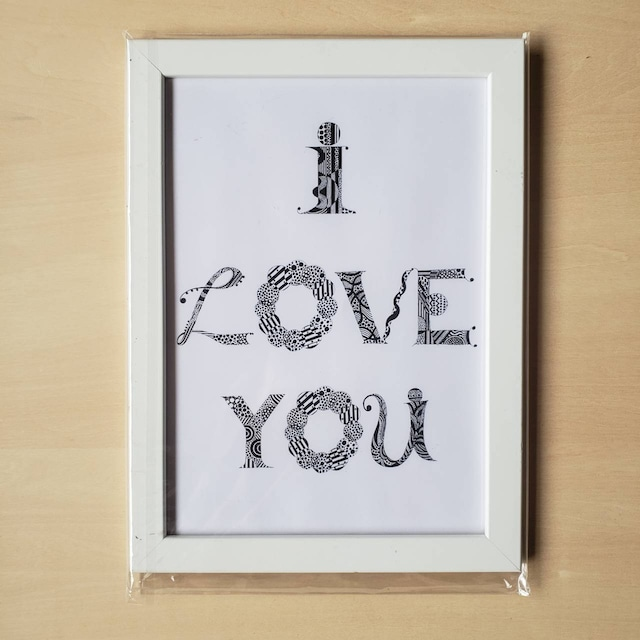 【B5ポスター・フレーム付・ホワイト】I LOVE YOU(New Language, New Communication)