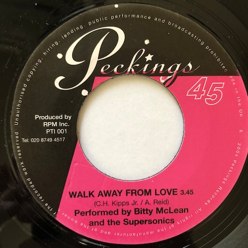Bitty McLean & The Supersonics - Walk Away From Love【7-20621】