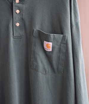USED CARHARTT LONG SLEEVE HENRY NECK T-SHIRT