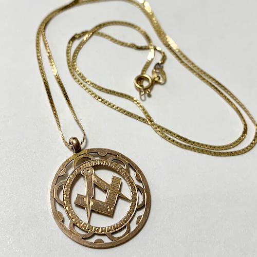 1849's Antique Masonic 9k Gold Charm Made In England with 10K Gold Chain