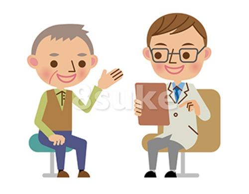 イラスト素材:問診で医者に病状を説明する患者(ベクター・JPG)