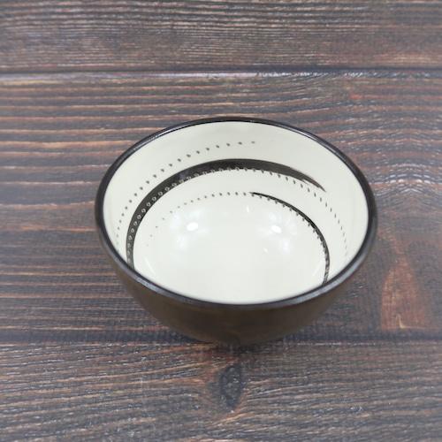 小石原焼 3寸珍味鉢 トビカンナ 茶黒細渦渦 鶴見窯