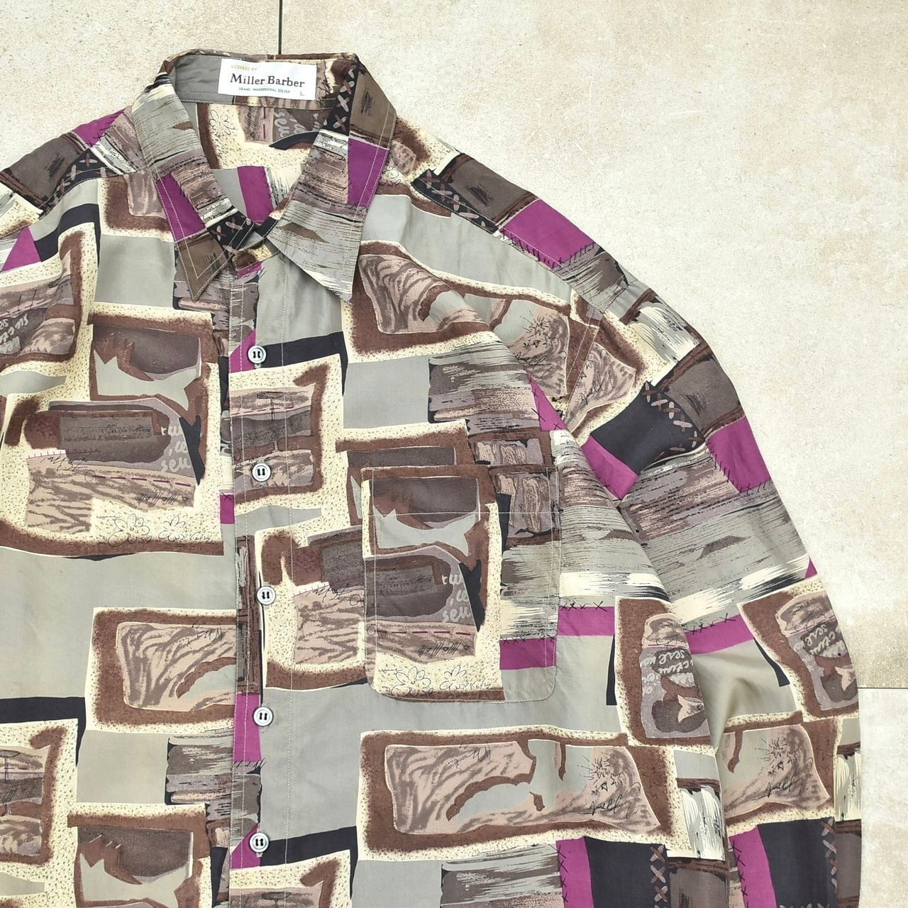 Geometric art design pattern silk shirt