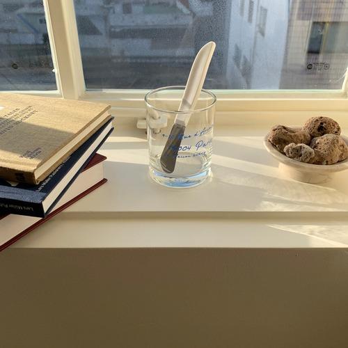 paris la maison glass cup / パリ ラ メゾン ガラス コップ ブルー レタリング グラス 韓国雑貨