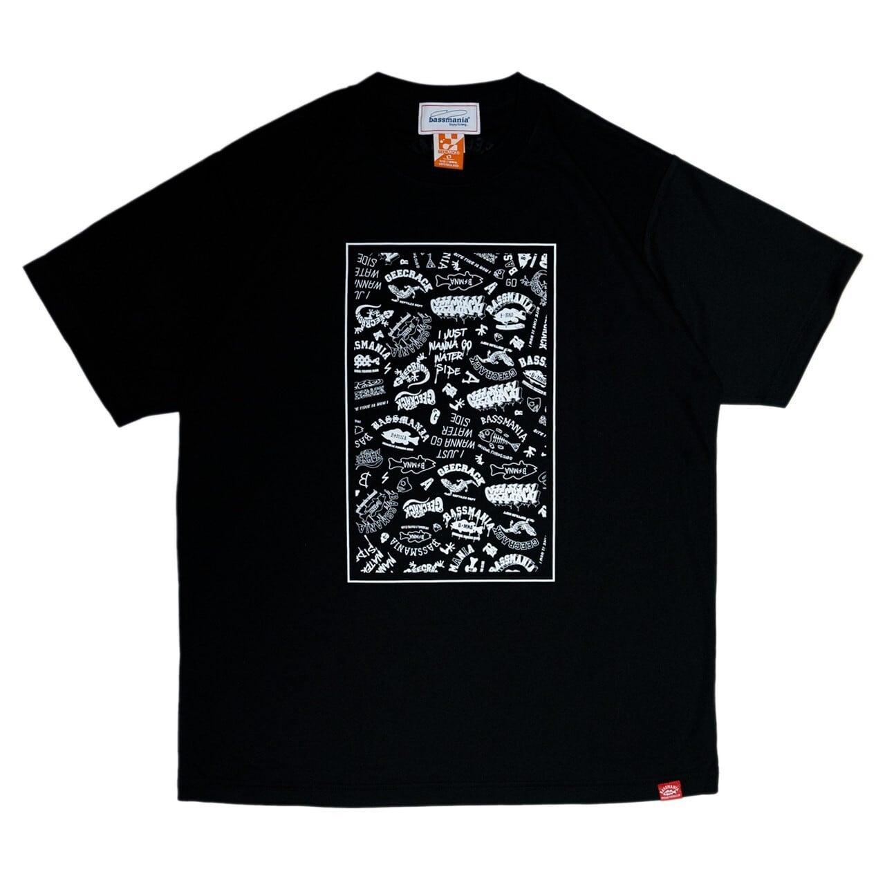【bassmania×GEECRACK】ランダムロゴ dry UV Tシャツ [BLK]  [限定生産] [8月上旬配送]