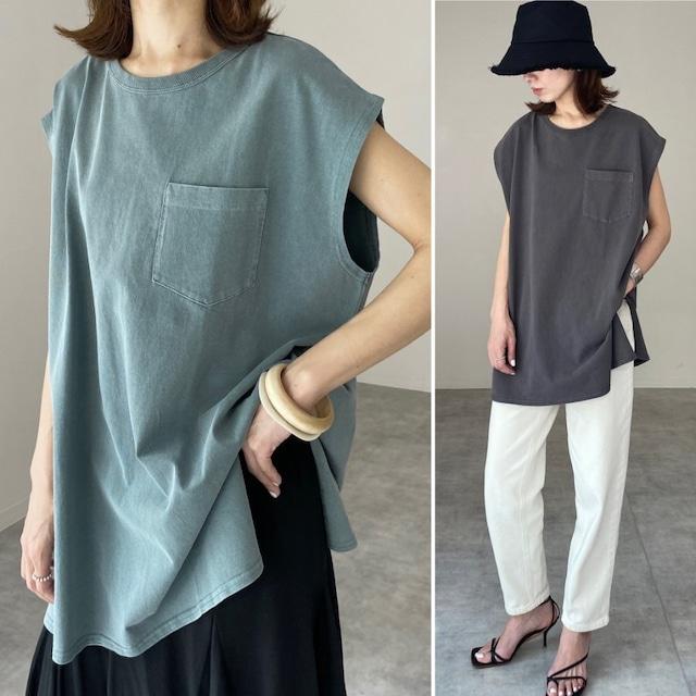 ◆即納エクリュのみ◆ヴィンテージ風 ピグメント加工 フレンチスリーブ Tシャツ