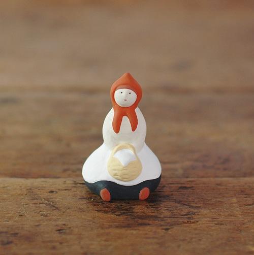 【にしおゆき】陶人形「赤ずきん」