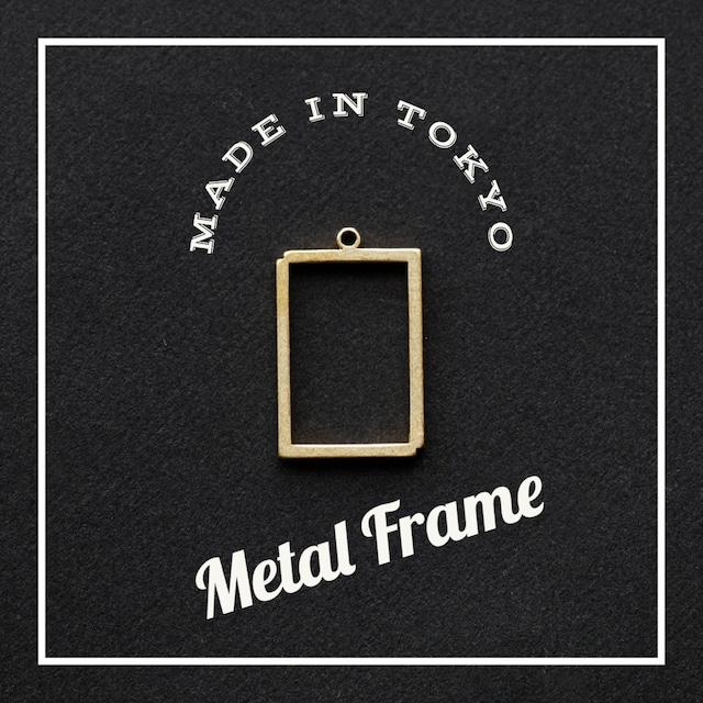 【2個】レジンフレーム 四角(日本製、真鍮、生地)