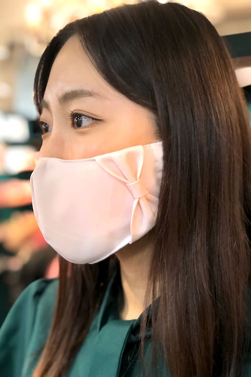 【セール】横顔美人!立体リボンマスク/薄ピンク