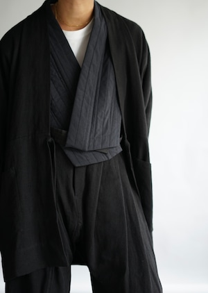 <STYLING> ⇨ JAN JAN VAN ESSCHE - KIMONO#9 & TROUSERS#65 (BLACK BRUSHED LINEN CLOTH)