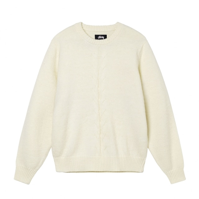 STUSSY DOUBLE CABLE SWEATER NATURAL