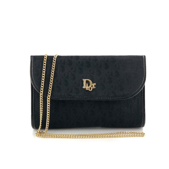 Christian Dior クリスチャン ディオール 2WAY チェーン ショルダーバッグ ポシェット トロッター ブラック vintage ヴィンテージ オールド m7367d