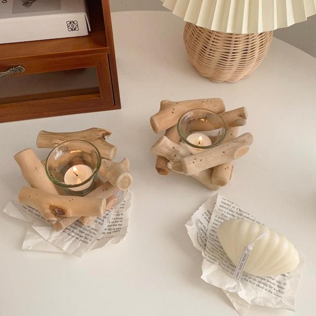 【即納】driftwood  candle holder  / BLHW167309 / 韓国インテリア