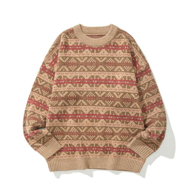 ハイゲージノルディックセーター |ニット セーター ノルディック柄 オーバーサイズ