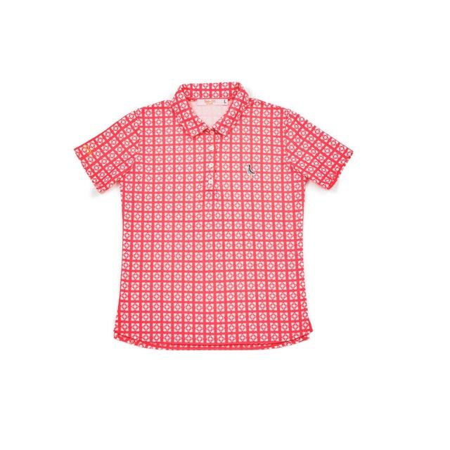 【 LADIES 】サンゴクロス ポロシャツ 【花ブロック サークル】(PINK)