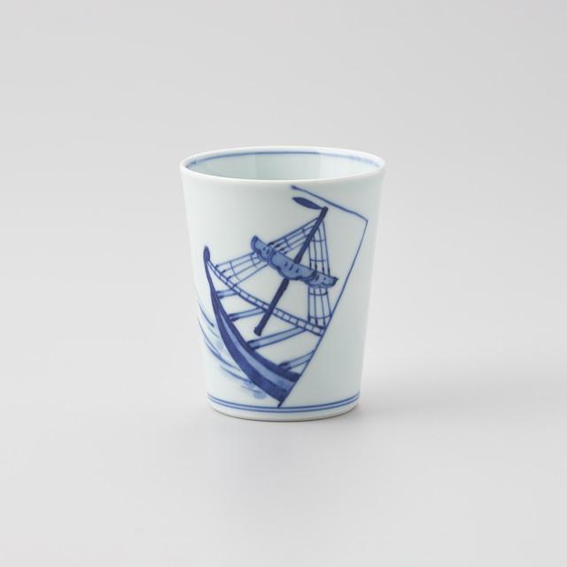 """【青花】""""船と異人"""" ミルクカップ[大](出船帆船)"""