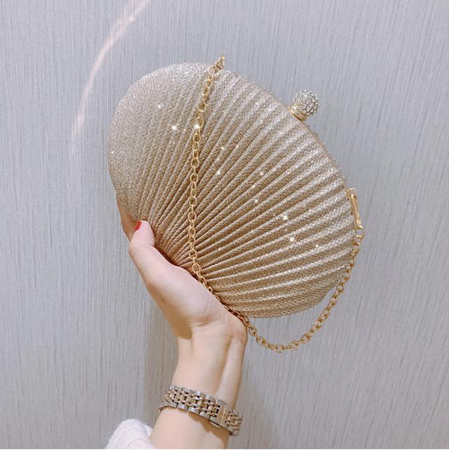 シェル 貝殻型 ダイヤモンド クラッチバッグ イブニングバッグ パーティー