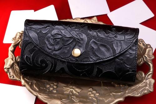 【復刻】カードが整理しやすい長財布/レトロな薔薇レザー