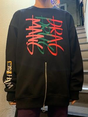 【MANG】英字ロゴ刺繍センター裾ハーフジップスウェットトップス