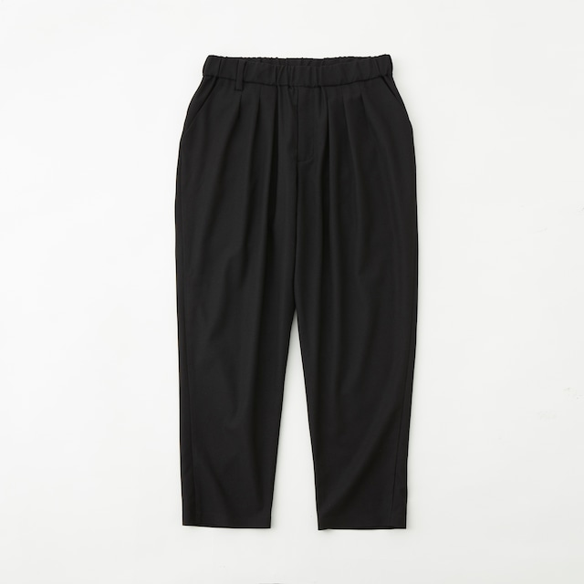 SOLOTEX STRETCHED TWILL 3 TUCK EASY TAPERED PANTS - BLACK