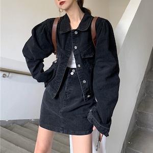 オーバーサイズデニムジャケット+Aラインミニスカート S3665