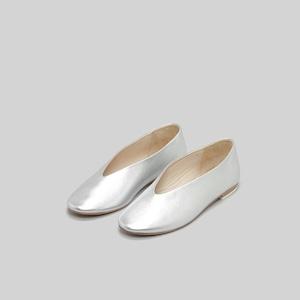 【_Fot】V ballet レザーパンプス silver/gold /0103s