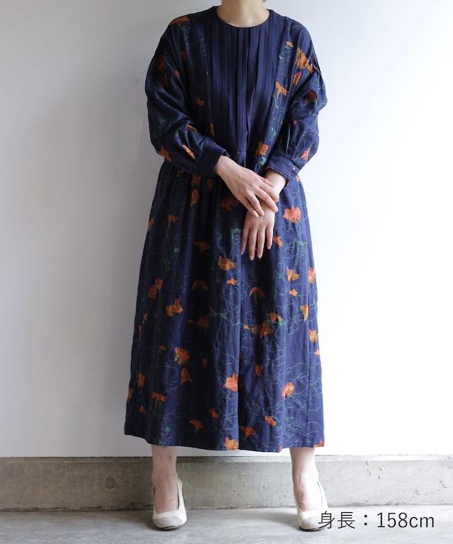 ナスタチュウム刺繍ワンピース(mua607)