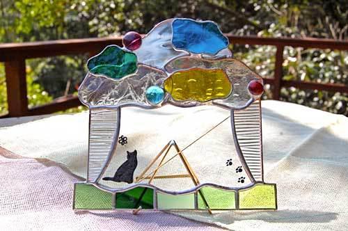 ネコの天気予報(ステンドグラスのフォトスタンド) 02010018