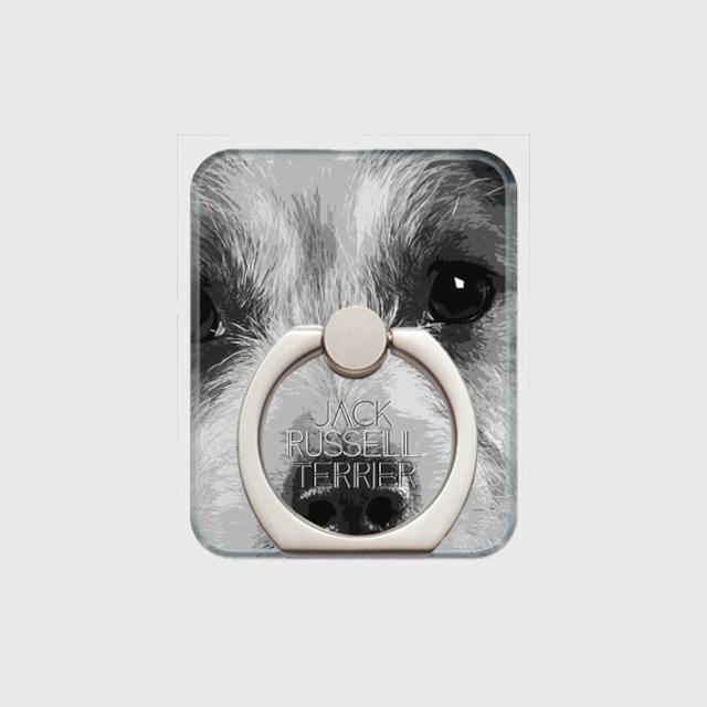 ジャックラッセルテリア おしゃれな犬スマホリング【IMPACT -shirokuro- 】